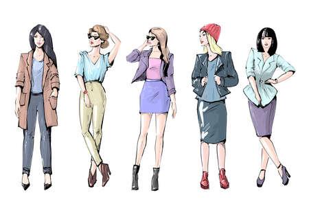 Casual fashion girls fashion sketch vector art