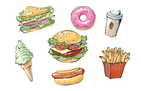 set of delicious and juicy fast food products. realistic colored sketch illustration of street food and cafes