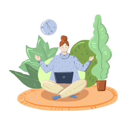 Woman freelancer working at home at the computer. Stay home concept. Cartoon stock vector illustration isolated on white background.