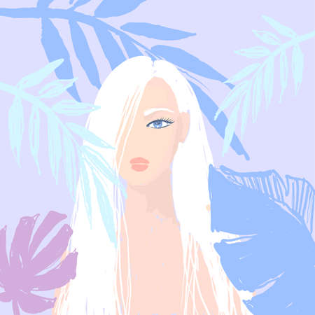 Beatiful blond girl with tropical leaves. T-Shirt Design and Printing, clothes, bags, posters, invitations, cards, leaflets etc. Vector hand drawn illustration.