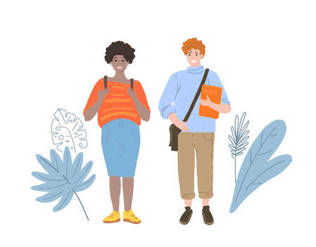 Young couple students. Vector illustration of a flat cartoon design