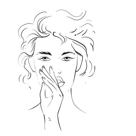 Sketch of woman making silent gesture Hand drawn line art Vector illustration isolated on white Ilustrace