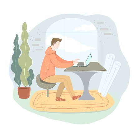 Office work and remote work, freelance. Young man working on computer. Vector illustration in flat cartoon style.