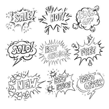 Set of cartoon labels. Comic speech bubble background Pop art style. Black and white