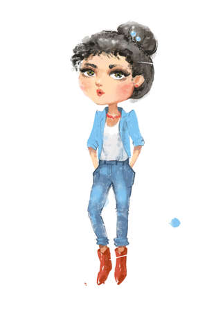 Cute casual fashion girl in jacket jeans and red boots 版權商用圖片