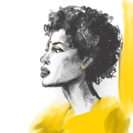 African woman portrait pencil fashion sketch in yellow clothes 版權商用圖片