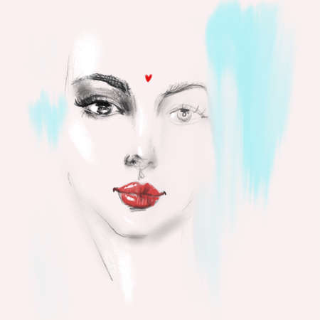 Beautiful young woman face with red lips pencil drawing sketch. Abstract girl model portrait fashion illustration for modern print design. 版權商用圖片