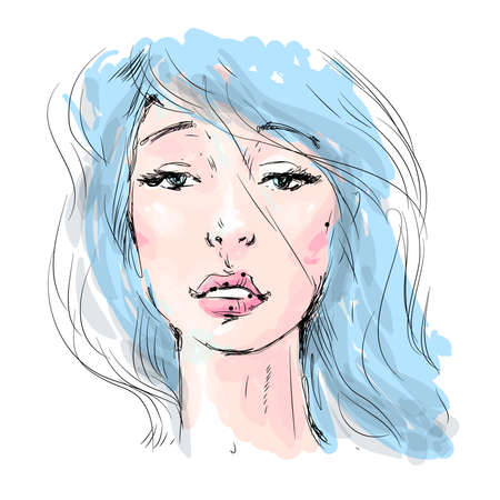 Beautiful girl face with long blue hair. Watercolor illustration in vector.Design for invitation, wedding, birthday and greeting cards, salons, beauty and fashion industry.