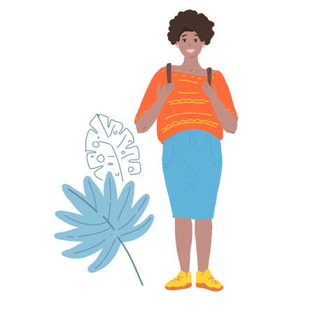 Smiling beatiful woman with afro hairstyle holding backpack isolated vector illustration