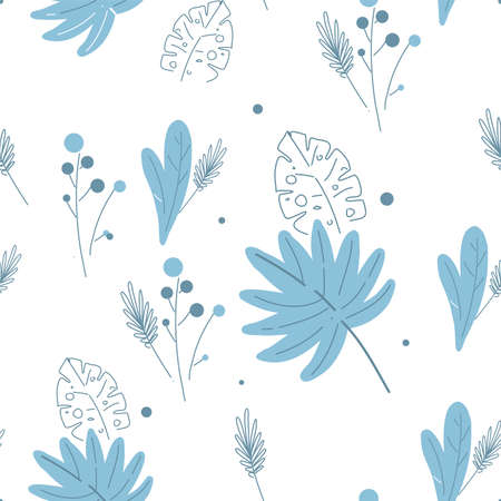 Modern Florals pattern in blue and white colors, line and stain seamless floral pattern,ditsy floral pattern.