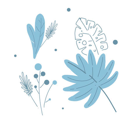 Modern floral leaves and berries, line and shape drawing style vector illustration