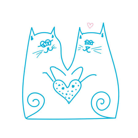 Two cats in love holding heart Valentine day line illustration 向量圖像