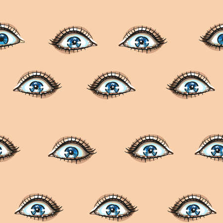 Fashion seamless pattern with woman blue eyes face expressions shine eyes, surprised. Hand drawn vector art