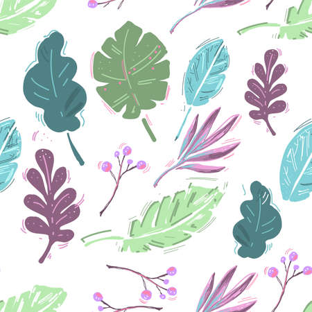 Summer exotic floral tropical palm, banana leaves. Pattern vector seamless on the white background. Plant flower nature wallpaper Ilustrace