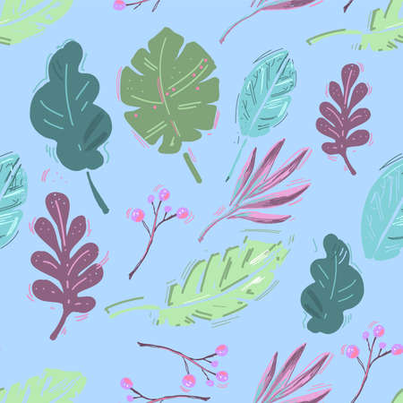 Summer exotic floral tropical palm, banana leaves. Pattern vector seamless. Plant flower nature wallpaper Ilustrace