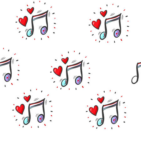 seamless pattern wallpaper of musical notes and hearts. Vector Illustration