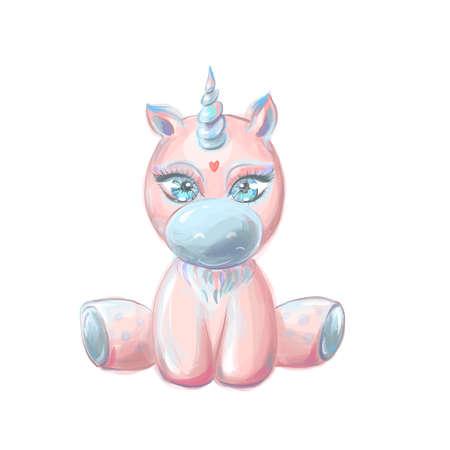 Cute pink magic unicorn sitting, baby pony with big eyes rest