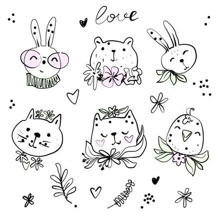 Cute hipster animals with spring flowers line illustration, bunny bear cat bird