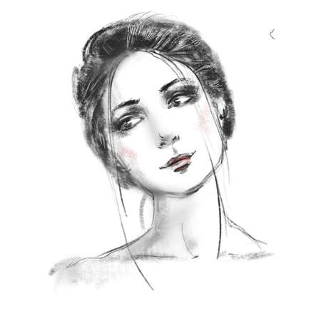 Beautiful girl face close up sketch. Hand drawn black and white pencil fashion illustration. Young woman portrait.