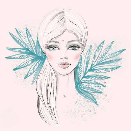 Fashion portrait of a doll beautiful young female face with big eyes with a tropical plants in a sketch trendy style on a light pink background for contemporary beauty fashion concept.
