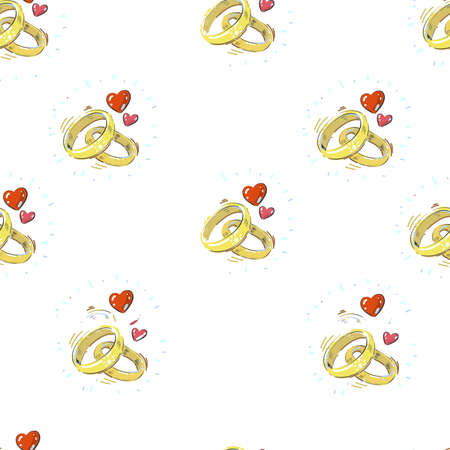 Hand drawn realistic engagement marriage rings with hearts seamless pattern on white background