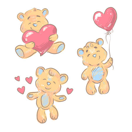 Bears cute collection with hearts nursery design isolated on white