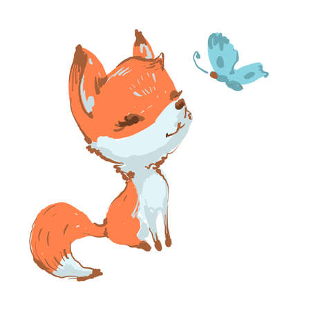 Cute fox seating and smiling to butterfly vector illustration isolated on white