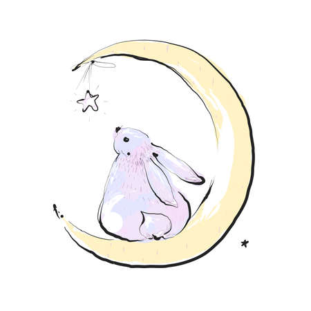 Bunny seating on the moon and watching star. Card with Cute bunny. Concept idea. Good night. Can be used for children. Vector Ilustration