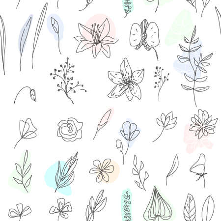 Beautiful seamless pattern with line flowers and leaves. Tender illustration, can be used for wrapping paper, invitation card for wedding,wallpaper and textile. Vector illustration