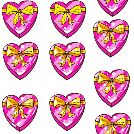 Seamless hearts valentines day pattern with boxes of chocolates in cartoon style 向量圖像