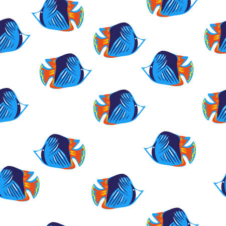 Ocean blue fishes decorative pattern seamless on white background