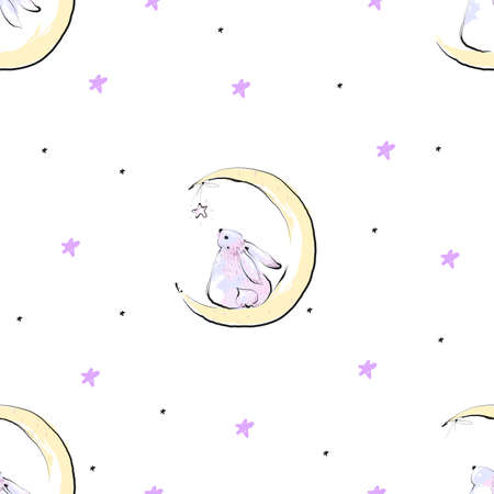 Seamless pattern with stars and cute bunny on the Moon 向量圖像