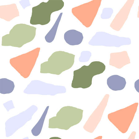 Abstract seamless pattern with colorful elements. Vector texture for your design. Simple modern texture with chaotic painted shapes.