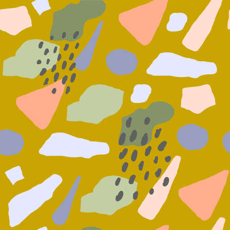 Colorful hand drawn trendy contemporary abstract shapes seamless pattern. Vector modern collage illustration