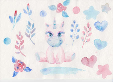 Magical cute unicorn watercolor elements hertas and flowers on white background.