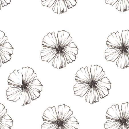 Poppy Seamless linear floral pattern on white