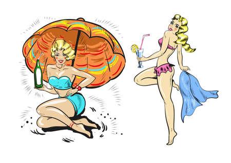 Vintage pinup woman , blond gair girls in bikini with drinks 向量圖像