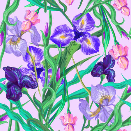 Iris flowers and leaves Seamless floral pattern. Vector. Hand drawn.