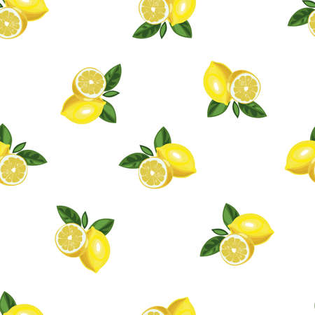 Nice lemon with slice and leaves background. Vector hand drawn seamless pattern