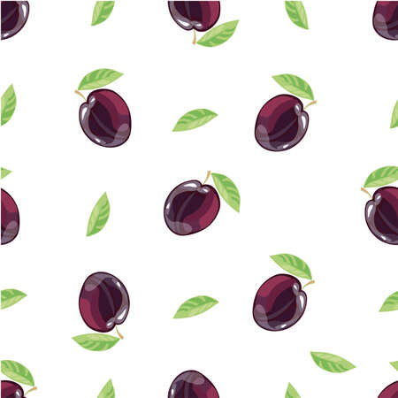 Seamless pattern with plums and green leaves on white background. Vector background. Fresh fruits. Plum pattern. Plum vector 向量圖像