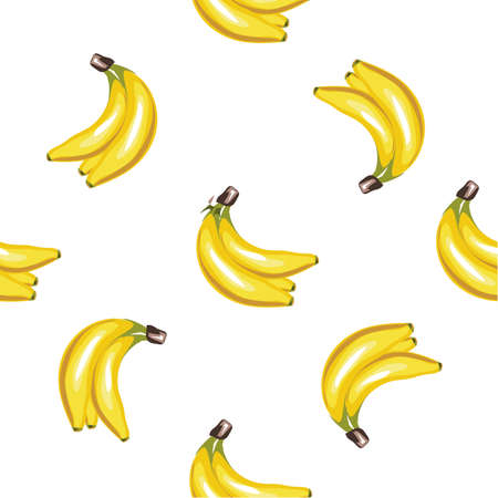 Yellow Banana hand drawn realistic seamless vector pattern 向量圖像