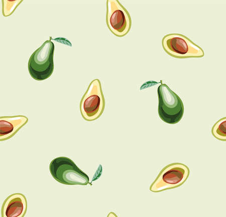 Seamless with whole and sliced avocado fruit on a light background. Vetores