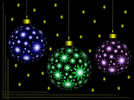Christmas color ornaments on black background