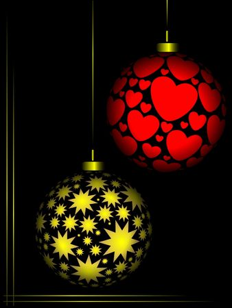 Christmas ornaments red and gold colour on black background