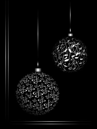 Christmas ornaments from the notes on black background