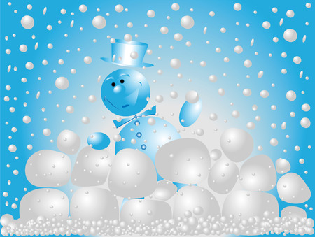 blu: Snowman playing snowballs on a blu background