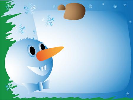 Snowman with a congratulatory card
