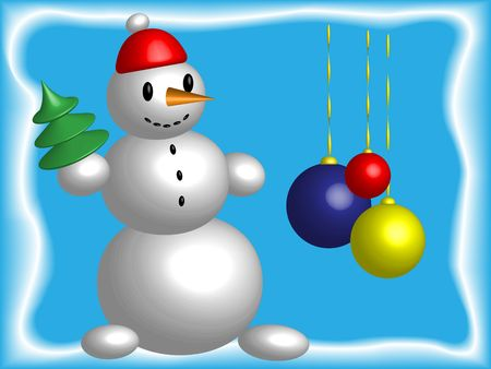 Snowball with a pine and Christmas-tree decoration