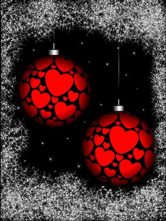 Christmas sphere with ornament in the form of hearts