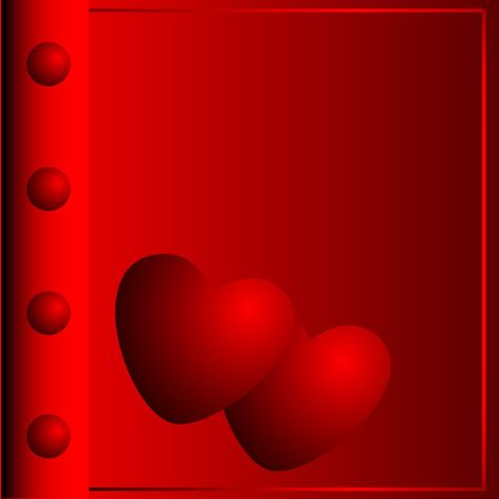 Photograph album with the image of two hearts made in red colour